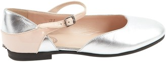 Christian Dior Silver Leather Flats