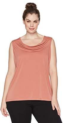 Nine West Women's Plus Size Solid Ity Drape Cowl Neck Blouse