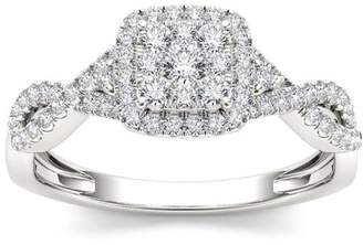 Imperial Diamond Imperial 1/2 Carat T.W. Diamond Criss-Cross Shank Halo 10kt White Gold Engagement Ring