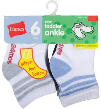 Hanes Baby Toddler Boy Cushion Heel and Toe Ankle Socks - 6 Pair