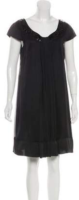 Alberta Ferretti Scoop Neck Mini Dress Black Scoop Neck Mini Dress