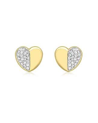 Fashion World 9Ct Gold CZ Heart Stud Earrings
