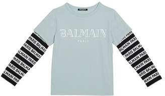 Balmain Kid's Long-Sleeve Institutional Logo Tee, Size 10-16