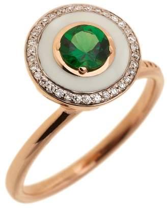 Selim Mouzannar White Enamel, Diamonds and Tsavorite Ring