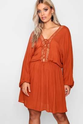 boohoo Plus Lace Up Balloon Sleeve Skater Dress