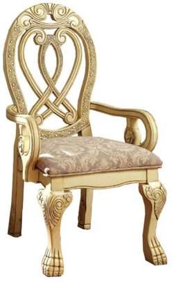 Benzara Wyndmere BM131195 Traditional Arm Chairs, Cherry, Set of 2