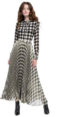 Alice + Olivia Katz Pleated Metallic Maxi Skirt