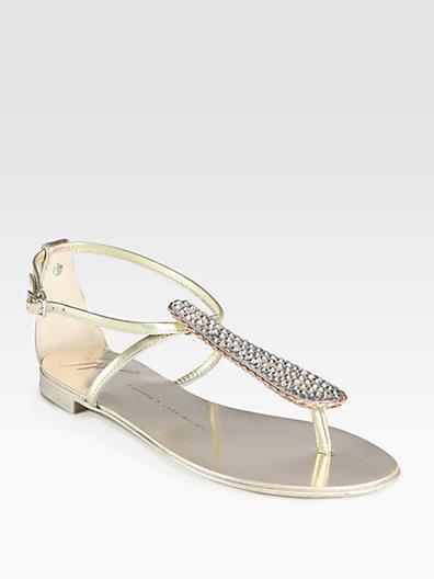 Giuseppe Zanotti Crystal-Encrusted Metallic Leather Thong Sandals
