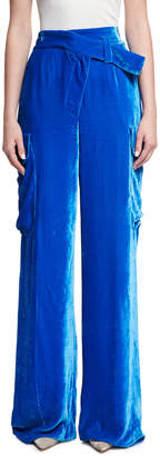 Monse Wide-Leg Velvet Cargo Pants
