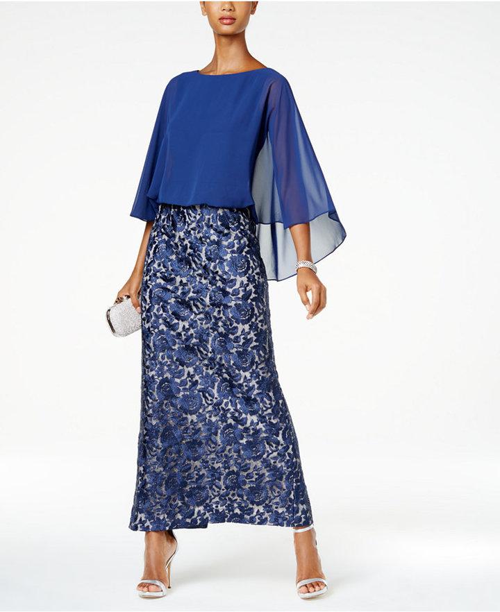 Alex EveningsAlex Evenings Embroidered-Skirt Cape Gown