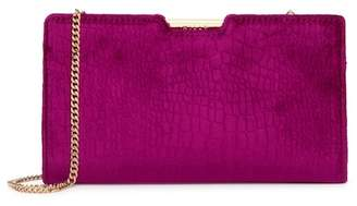 Milly Embossed Croco Velvet Small Frame Clutch