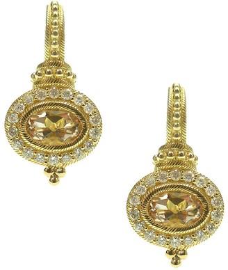 Judith Ripka 14K Gold Morganite & Diamond Earrings