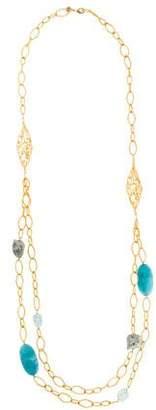 Alexis Bittar Calcite & Dyed Quartzite Double Chain Necklace