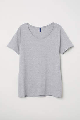 H&M T-shirt with Low-cut Neckline - Gray