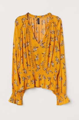H&M Blouse with Lace Details - Yellow