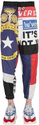 Versace Flag Printed Silk Trousers