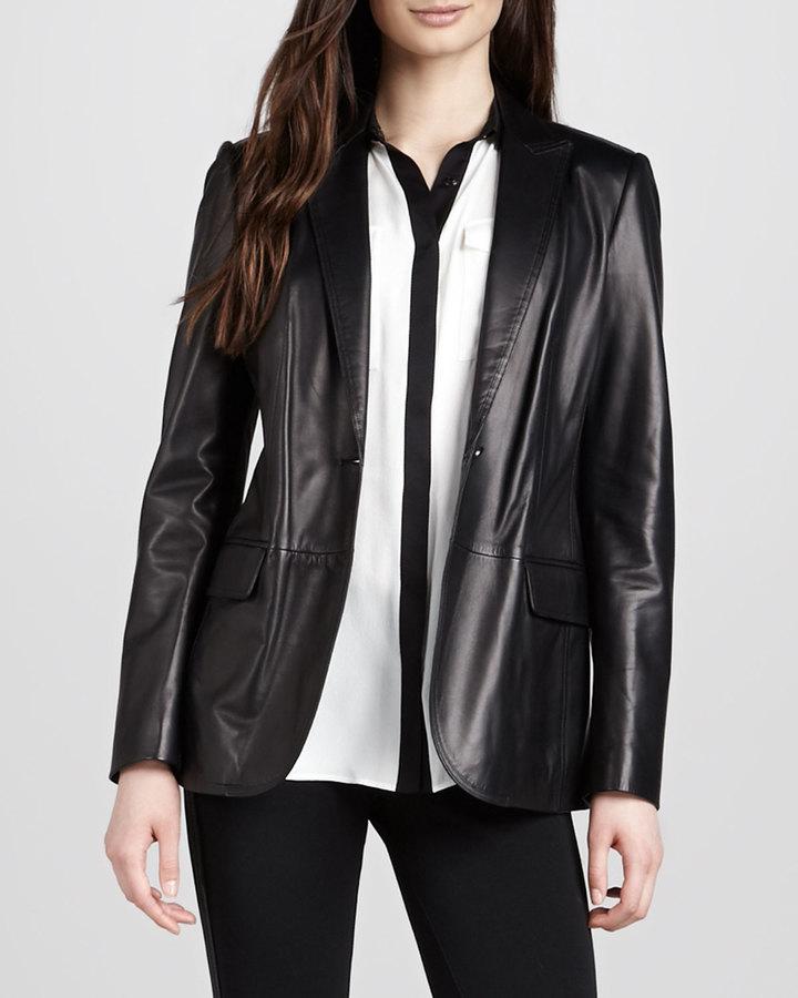 Burberry One-Button Leather Blazer