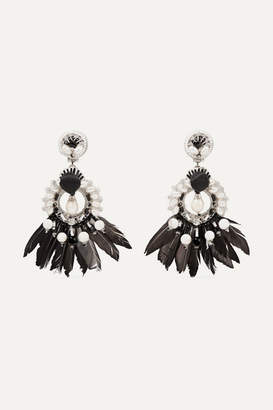 Ranjana Khan Leather, Silver-tone And Feather Multi-stone Clip Earrings