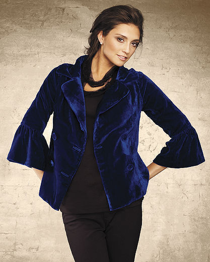 Cropped velvet swing jacket