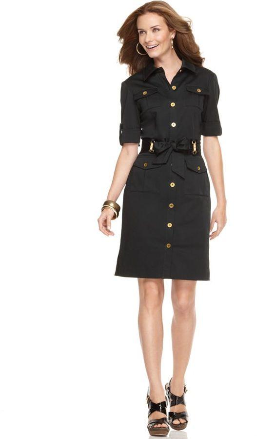 Jones New York Signature Dress, Belted Shirtdress