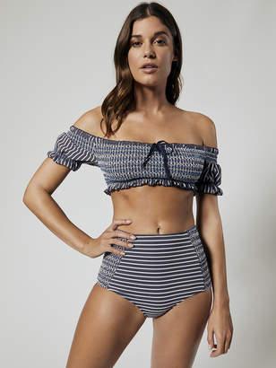 Striped Smocked Off Shoulder Puff Sleeves Bikini Top