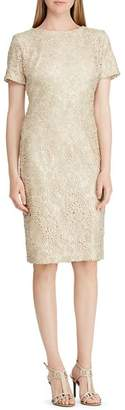 Ralph Lauren Short-Sleeve Floral-Lace Dress