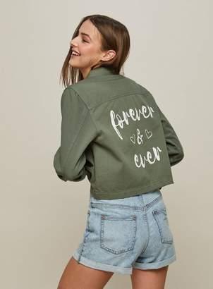 Miss Selfridge Khaki cropped slogan shacket