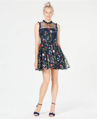 Macy's City Studios Juniors' Floral-Embroidered Fit & Flare Dress, Created for