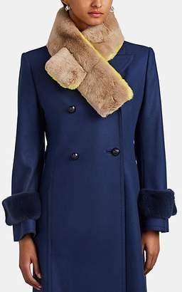Barneys New York Women's Colorblocked Rabbit Fur Pull-Through Scarf - Yellow