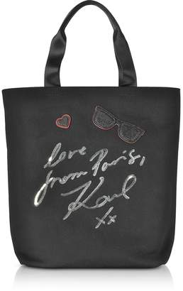 Karl Lagerfeld K/Paris Black Canvas Tote Bag