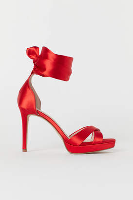 H&M Sandals with Ankle Tie - Red