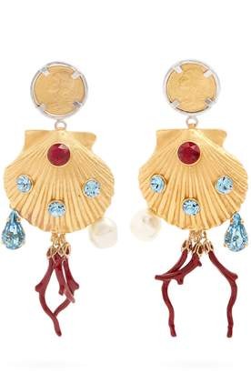Dolce & Gabbana Crystal-embellished shell-drop clip on earrings