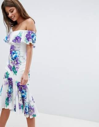 Jessica Wright Bardot Floral Dress With Frill Hem