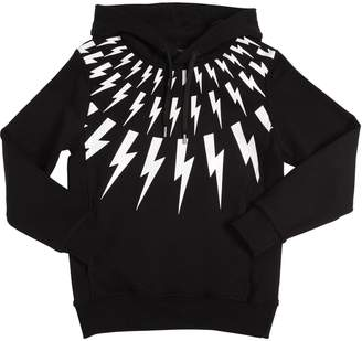 Neil Barrett Bolt Printed Cotton Sweatshirt Hoodie