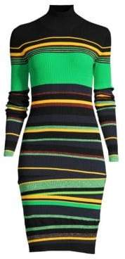 Diane von Furstenberg Women's Finn Stripe Thumb hole Cuff Rib-Knit Bodycon Dress - Black Multi - Size Large