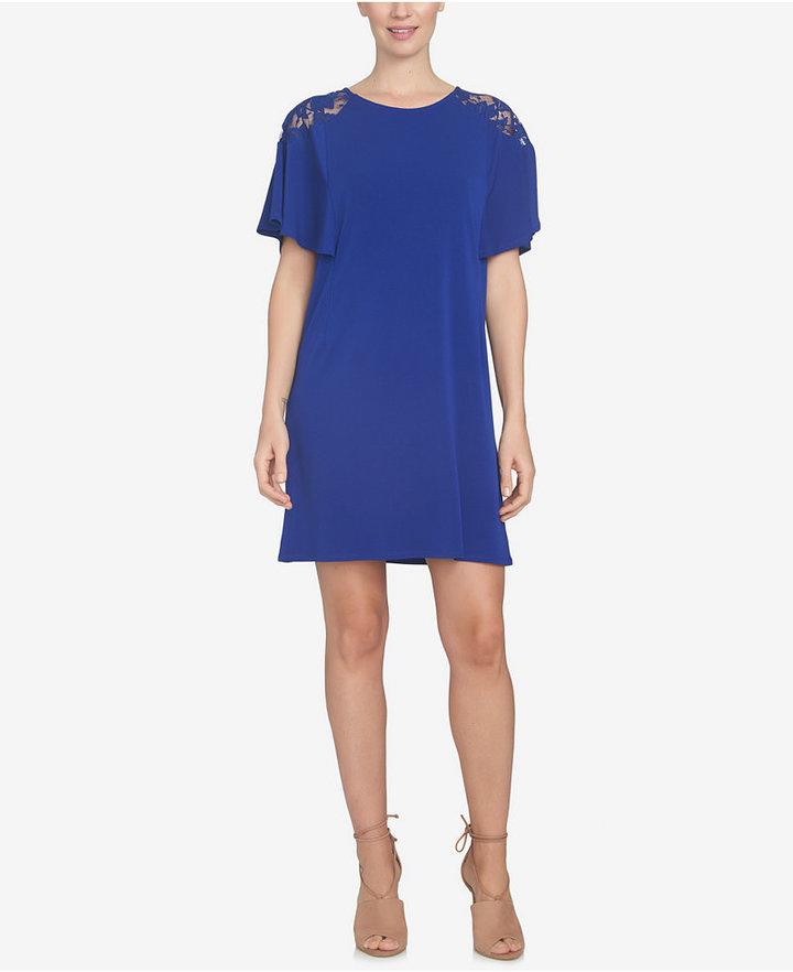 CeCe Lace-Trim Shift Dress