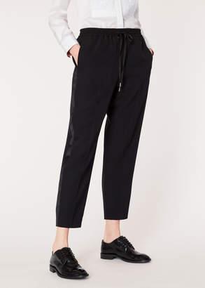 Paul Smith Women's Black Wool Drawstring Tuxedo Trousers With Satin Stripe