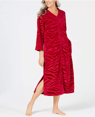Miss Elaine Micro-Embossed Velour Long Zip Robe