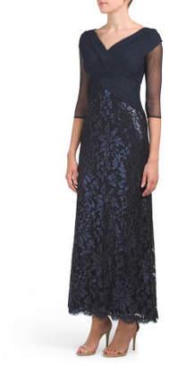 Petite Surplice Bodice Lace Gown