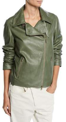 Brunello Cucinelli Zip-Front Leather Moto Jacket
