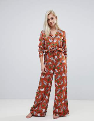 Asos DESIGN safari animal pyjama shirt and wide leg PANTS set 100% modal