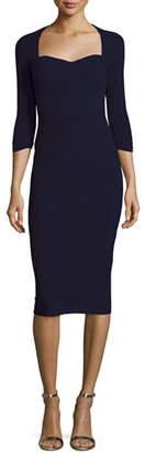 Chiara Boni Custom Collection: Serenity 3/4-Sleeve Body-Conscious Dress