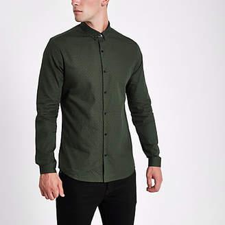 River Island Dark green tile print slim fit shirt