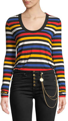 Veronica Beard Falk Striped Scoop-Neck Long-Sleeve Tee
