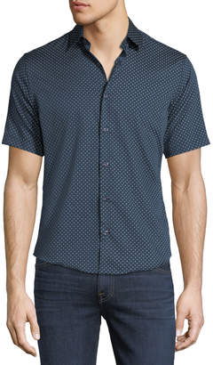 Neiman Marcus Slim-Fit Short-Sleeve Dobby-Print Sport Shirt