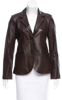 Amanda Uprichard Leather Notch-Lapel Blazer
