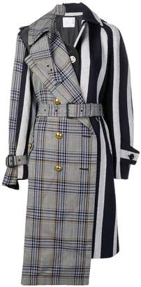 Sacai check and stripe wool trench coat