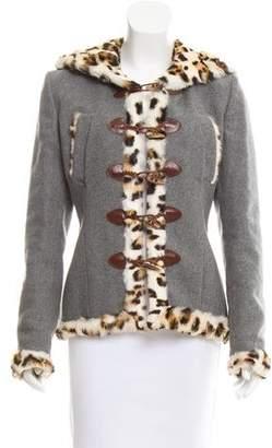 Alexander McQueen Fur-Trimmed Wool Jacket