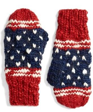 Collection XIIX 'Americana Pom' Knit Mittens $28 thestylecure.com