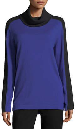 Escada Mesh-Stripe Cowl-Neck Sweater